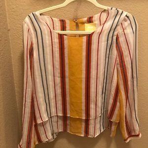 Anthropologie Mauve semi sheer blouse